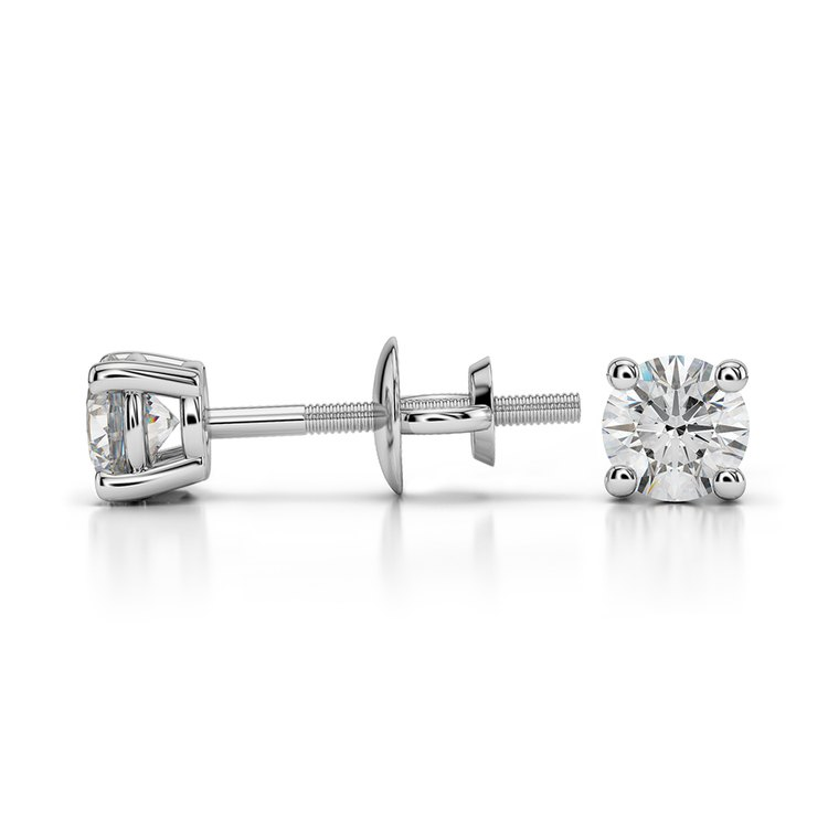 Round Diamond Stud Earrings in White Gold (1/3 ctw) - Value Collection | 03