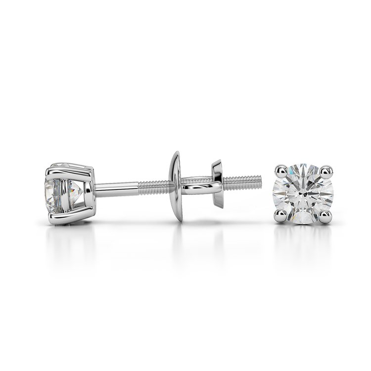 Round Diamond Stud Earrings in White Gold (1/4 ctw) - Value Collection | 03