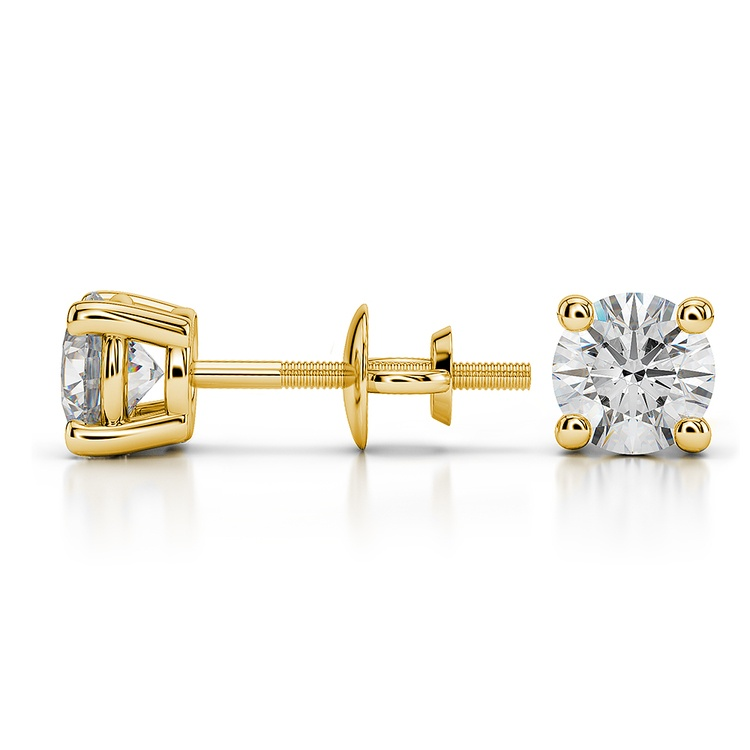 Round Diamond Stud Earrings in Yellow Gold (1 ctw) - Value Collection | 03