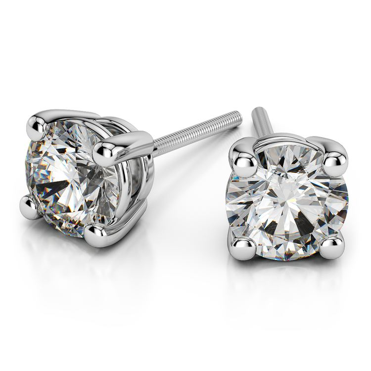 Round Diamond Stud Earrings in White Gold (2 ctw) - Value Collection | 01