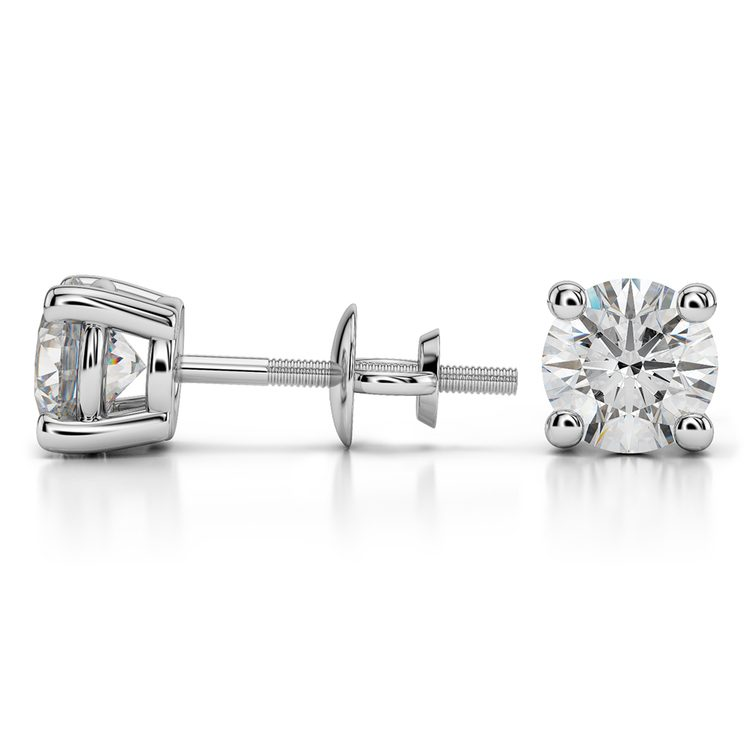 Round Diamond Stud Earrings in White Gold (2 ctw) - Value Collection | 03