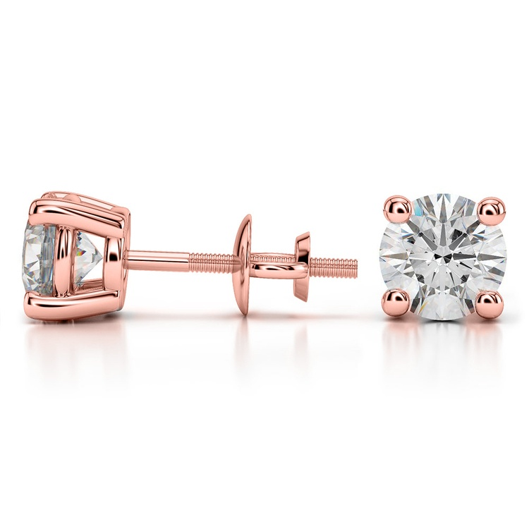 Round Diamond Stud Earrings in Rose Gold (3 ctw) - Value Collection | 03