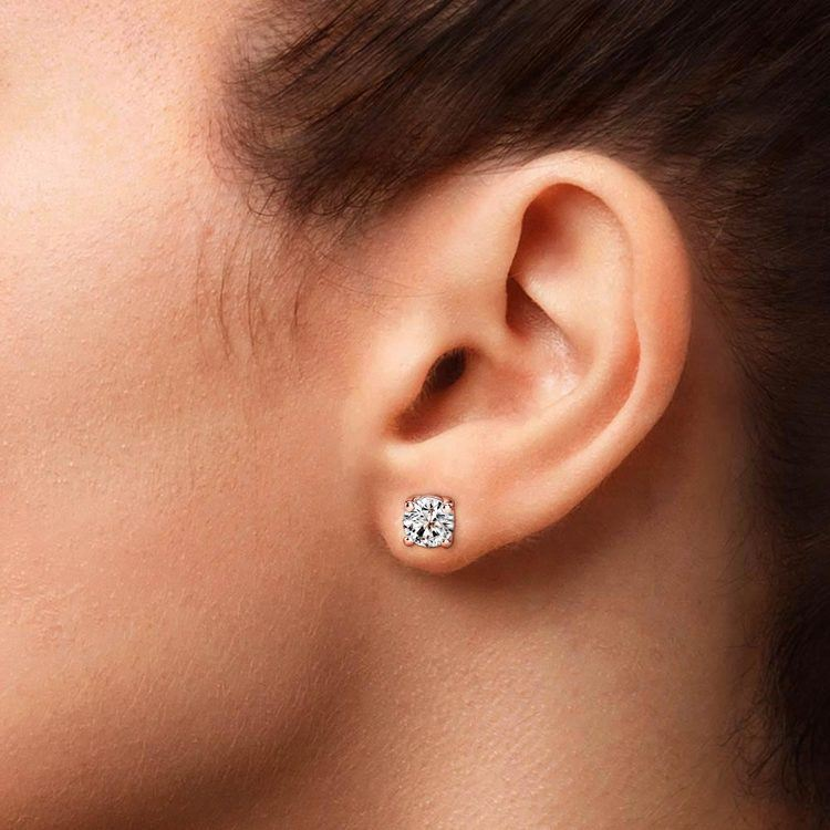 Round Diamond Stud Earrings in Rose Gold (3 ctw) - Value Collection   04