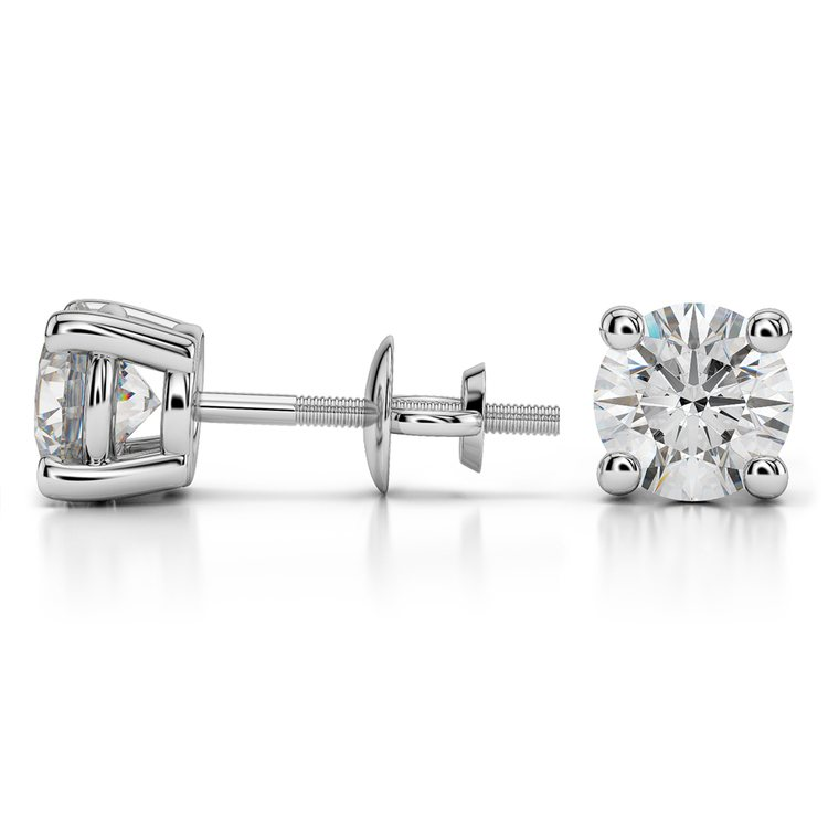 Round Diamond Stud Earrings in White Gold (3 ctw) - Value Collection | 03