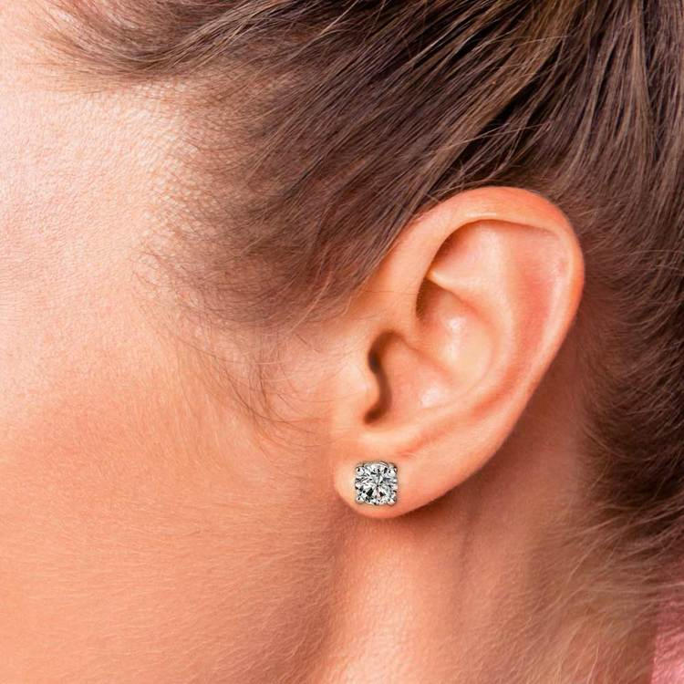 Round Diamond Stud Earrings in White Gold (3 ctw) - Value Collection | 04