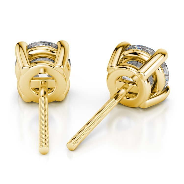 Round Diamond Stud Earrings in Yellow Gold (3 ctw) - Value Collection | 02