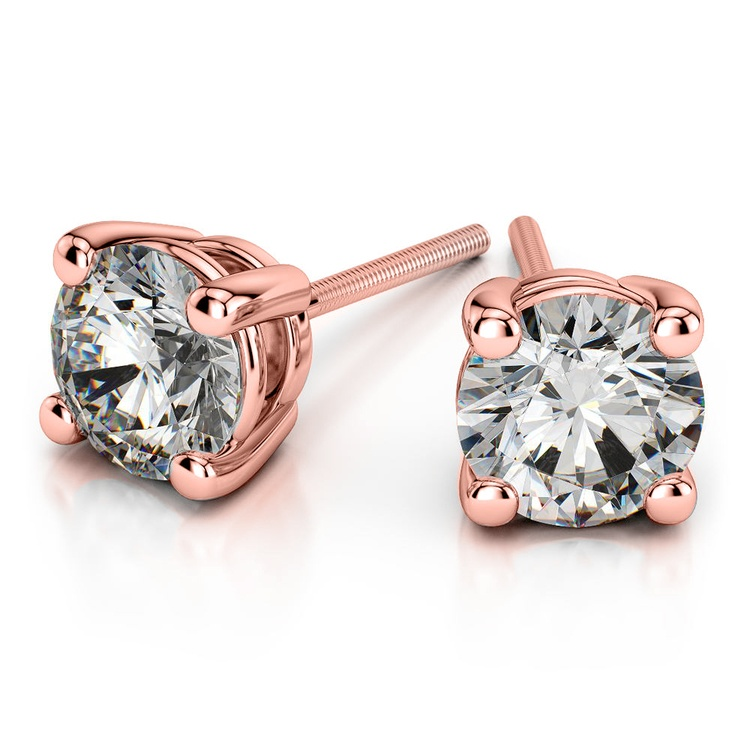 Round Diamond Stud Earrings in Rose Gold (4 ctw) - Value Collection | 01