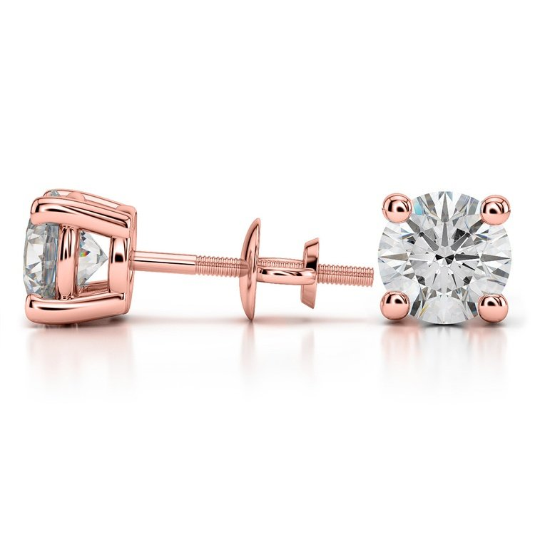 Round Diamond Stud Earrings in Rose Gold (4 ctw) - Value Collection | 03