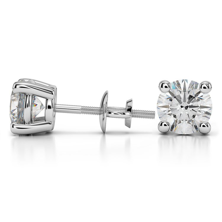 Round Diamond Stud Earrings in White Gold (4 ctw) - Value Collection | 03