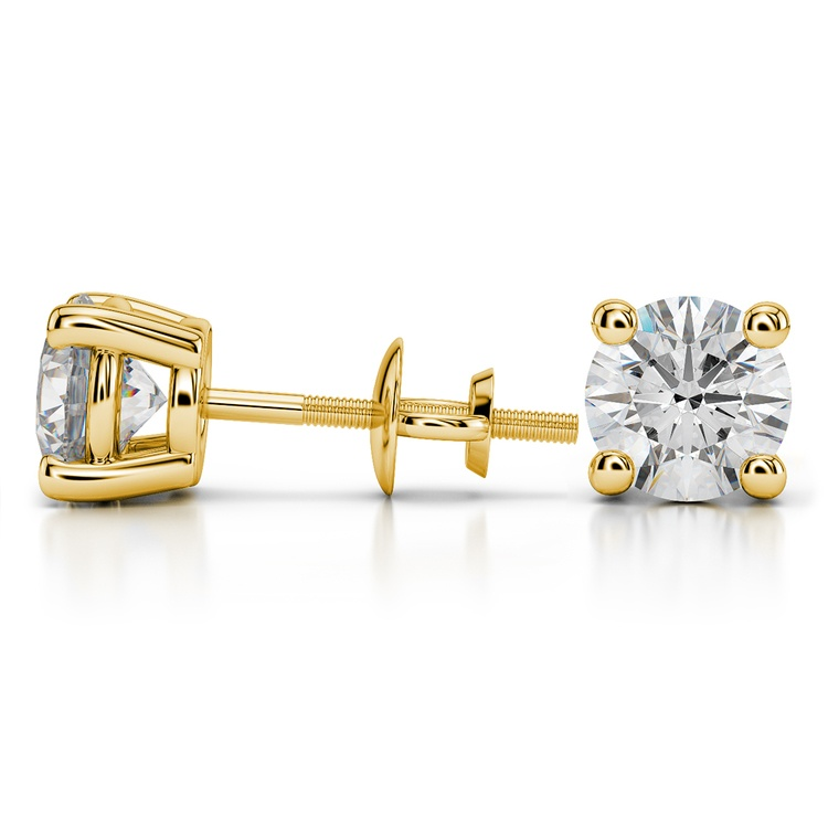 Round Diamond Stud Earrings in Yellow Gold (4 ctw) - Value Collection | 03