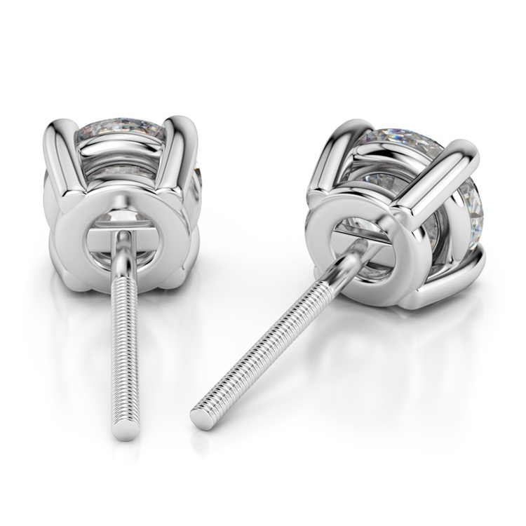 Round Diamond Stud Earrings in White Gold (3/4 ctw) | 02