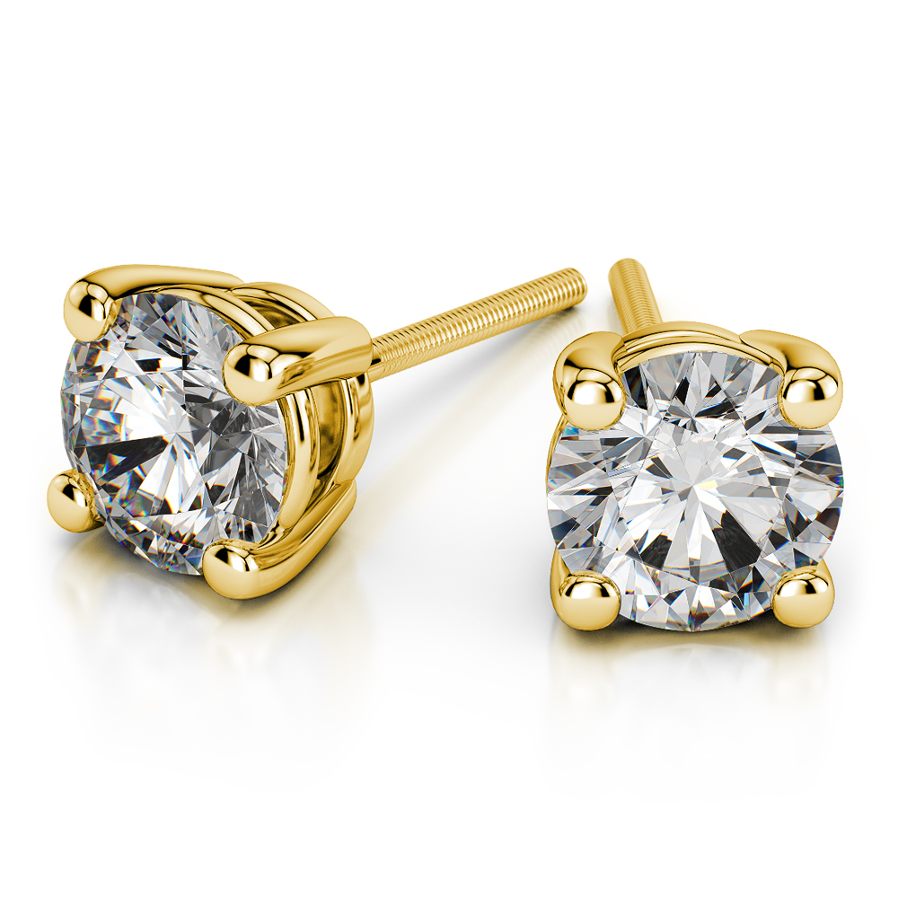 Round Diamond Stud Earrings In Yellow Gold 1 4 Ctw