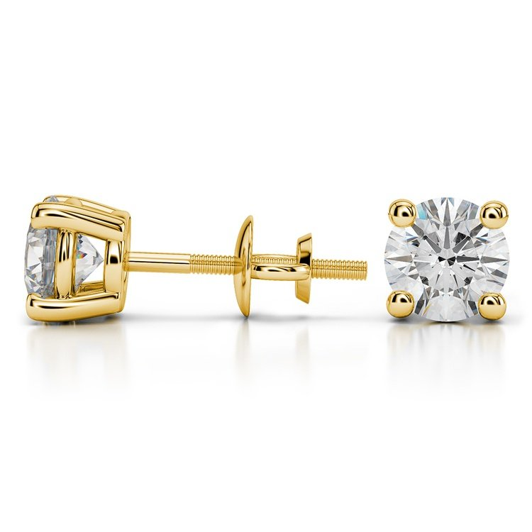 Round Diamond Stud Earrings in Yellow Gold (2 ctw) | 03