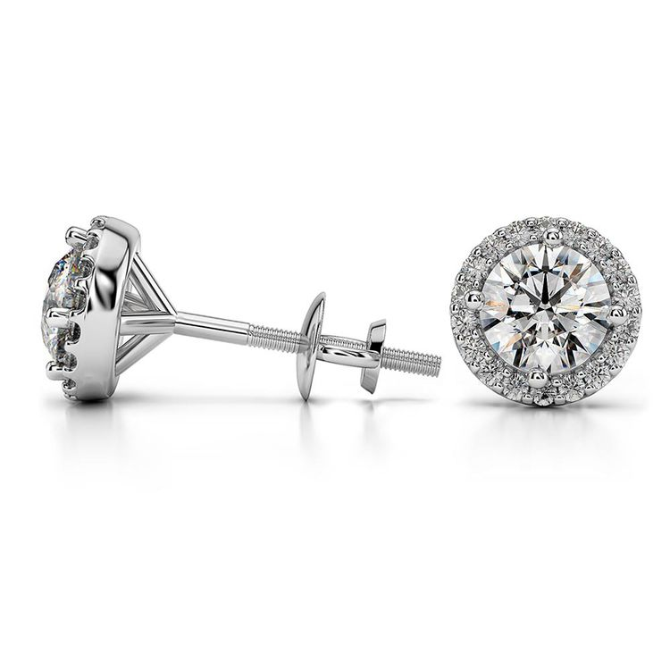 Round Halo Moissanite Stud Earrings in White Gold (7.5 mm) | 03