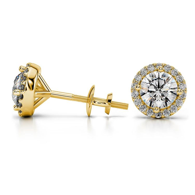 Round Halo Moissanite Stud Earrings in Yellow Gold (7.5 mm) | 03