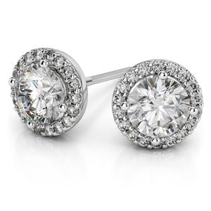 Round Halo Moissanite Stud Earrings in White Gold (7 mm)