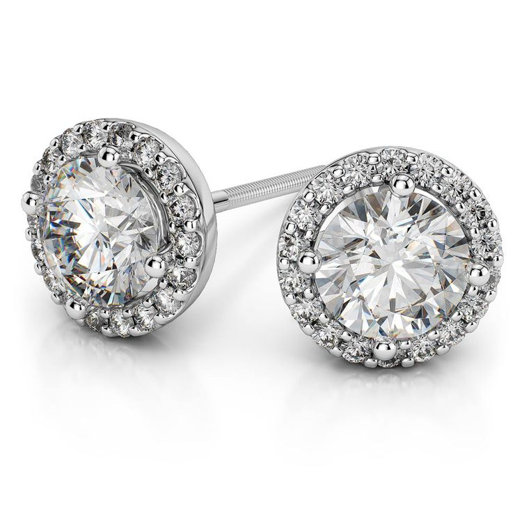 Round Halo Moissanite Stud Earrings in White Gold (7 mm) | 01