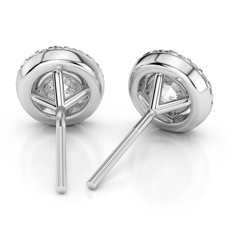 Round Halo Moissanite Stud Earrings in White Gold (7 mm) | 02