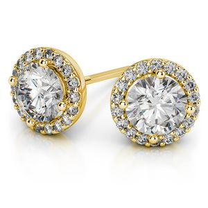 Round Halo Moissanite Stud Earrings in Yellow Gold (7 mm)