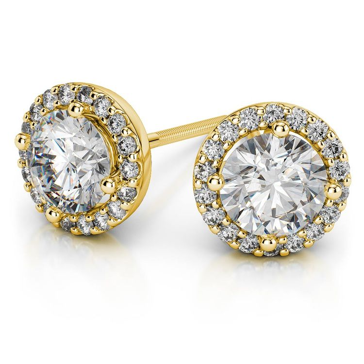 Round Halo Moissanite Stud Earrings in Yellow Gold (7 mm) | 01