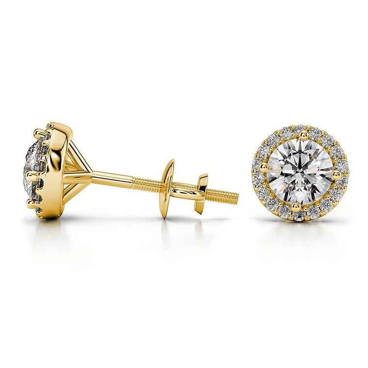 Round Halo Moissanite Stud Earrings in Yellow Gold (7 mm) | 03