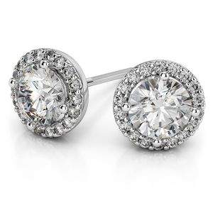 Round Halo Moissanite Stud Earrings in White Gold (8.5 mm)