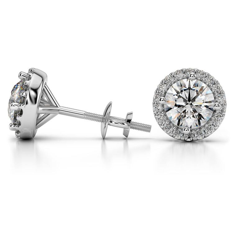 Round Halo Moissanite Stud Earrings in White Gold (8.5 mm) | 03