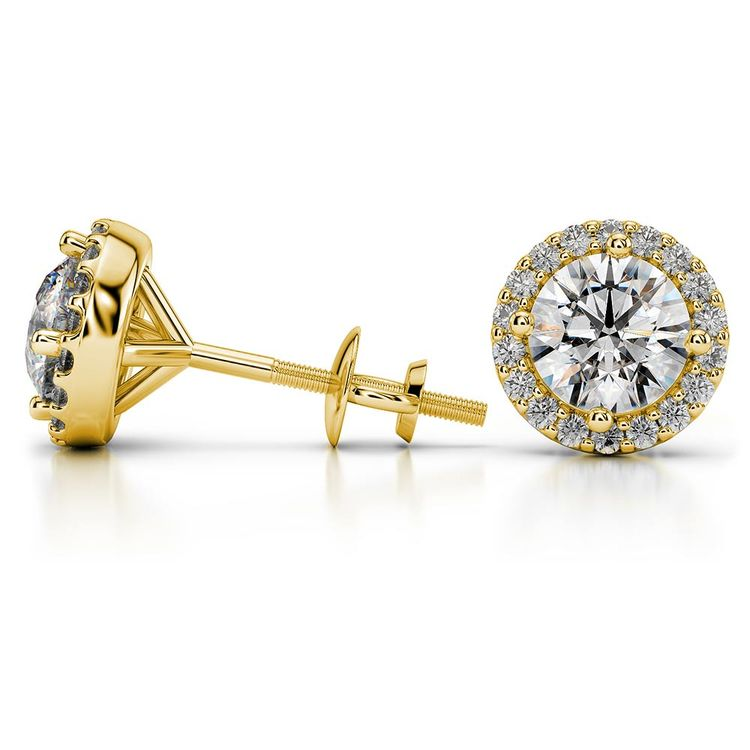 Round Halo Moissanite Stud Earrings in Yellow Gold (8.5 mm) | 03
