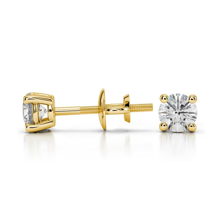 Round Moissanite Stud Earrings in Yellow Gold (3.5 mm) | 03