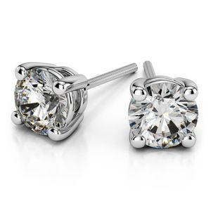 Round Moissanite Stud Earrings in White Gold (4.5 mm)
