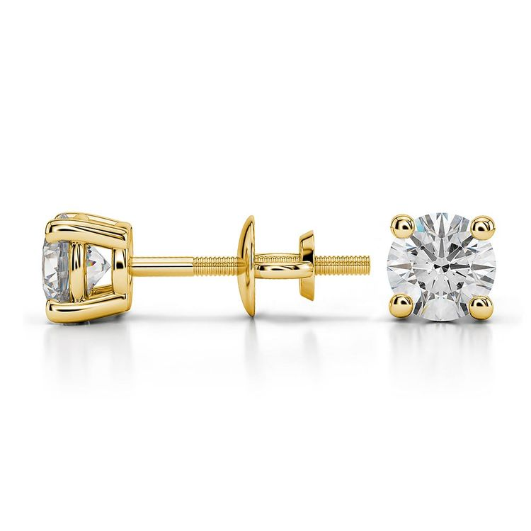 Round Moissanite Stud Earrings in Yellow Gold (4.5 mm) | 03