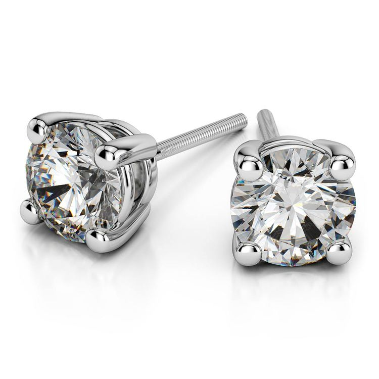 Round Moissanite Stud Earrings in White Gold (4 mm) | 01