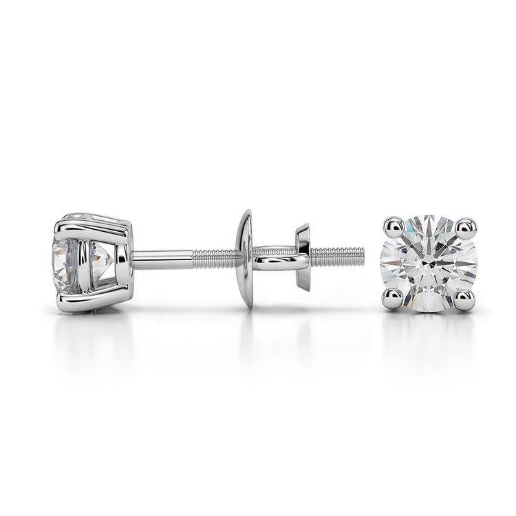 Round Moissanite Stud Earrings in White Gold (4 mm) | 03
