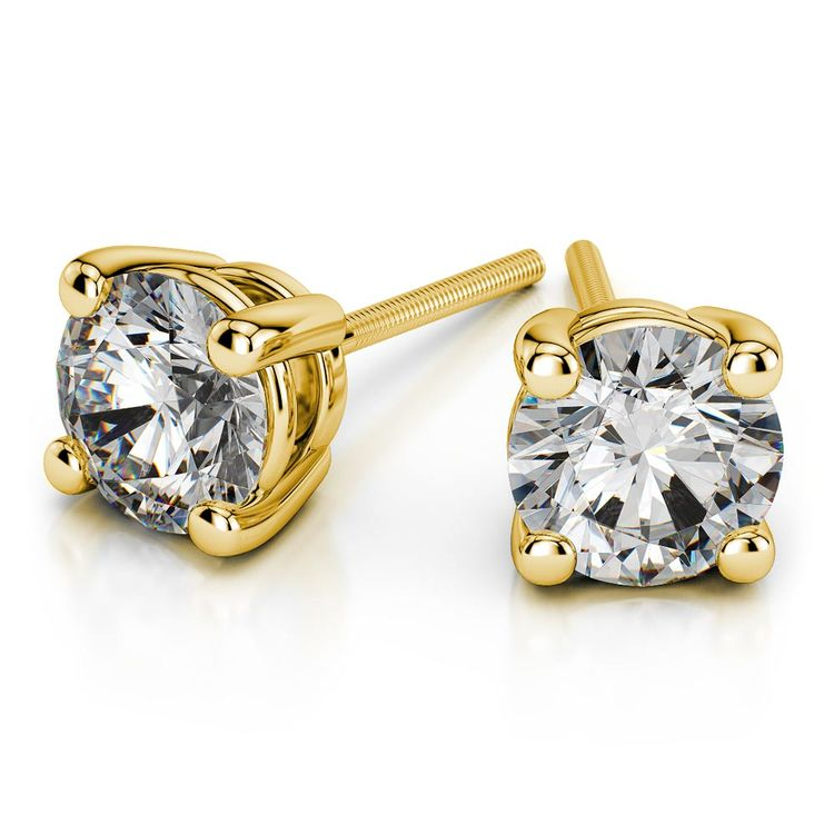 Round Moissanite Stud Earrings in Yellow Gold (4 mm) | 01