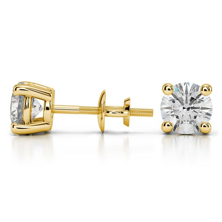Round Moissanite Stud Earrings in Yellow Gold (6.5 mm) | 03