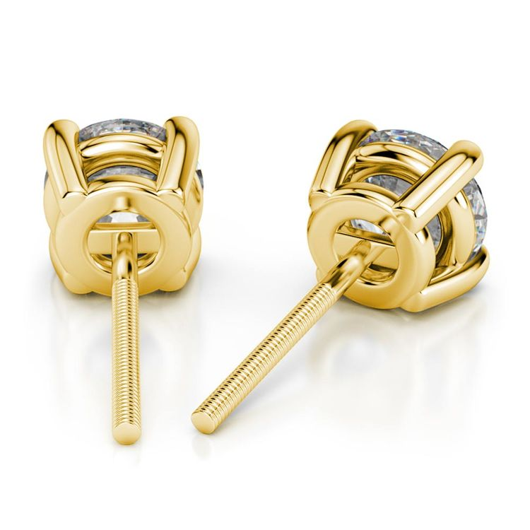 Round Moissanite Stud Earrings in Yellow Gold (6 mm) | 02