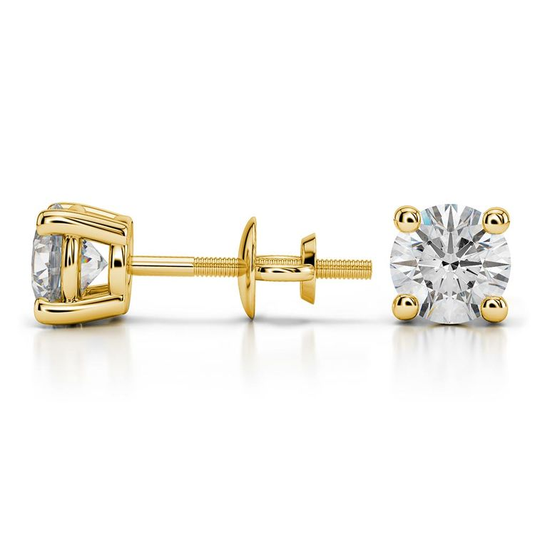 Round Moissanite Stud Earrings in Yellow Gold (6 mm) | 03