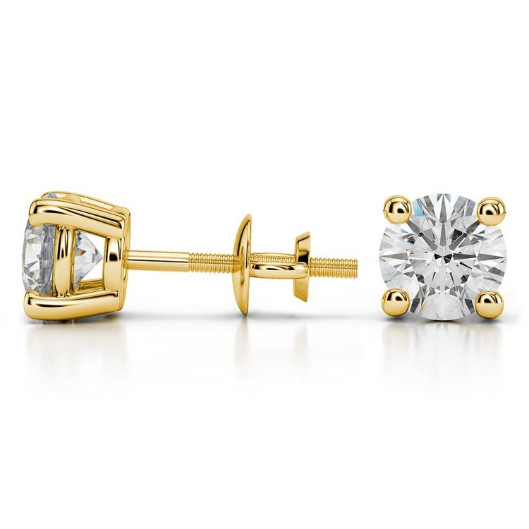Round Moissanite Stud Earrings in Yellow Gold (7.5 mm) | 03