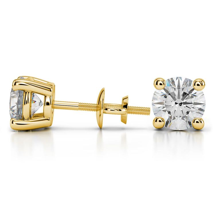 Round Moissanite Stud Earrings in Yellow Gold (8 mm) | 03