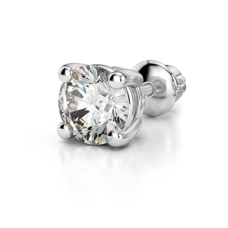 Round Single Diamond Stud Earring In White Gold (1 Ctw) - Value Collection | 04