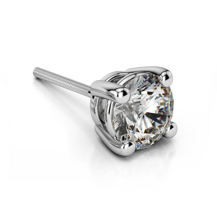 Round Single Diamond Stud Earring In White Gold (2 Ctw) - Value Collection | 01