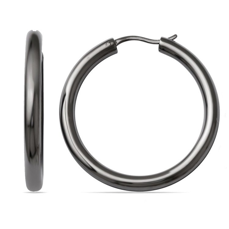 Round Tube Hoop Earrings with Blackened Finish in Silver (33 mm) | 01