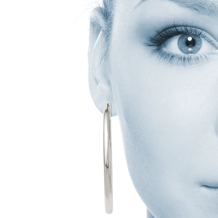 Round Tube Hoop Earrings in Silver (51 mm) | 04