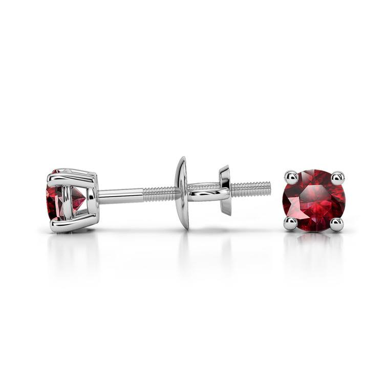 Ruby Round Gemstone Stud Earrings in White Gold (3.2 mm) | 03