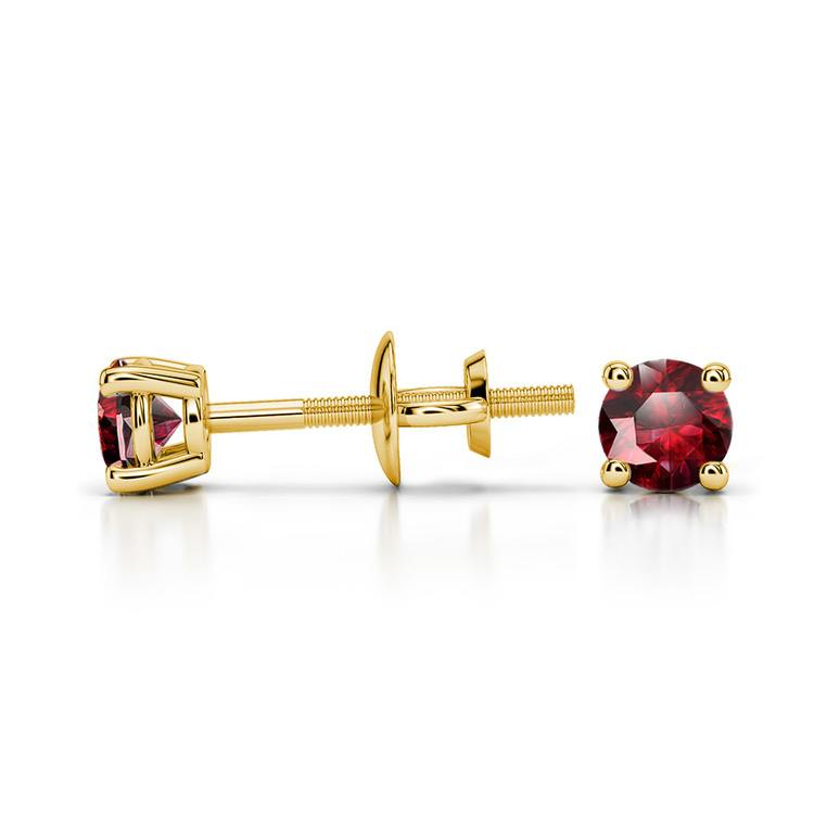 Ruby Round Gemstone Stud Earrings in Yellow Gold (3.2 mm) | 03
