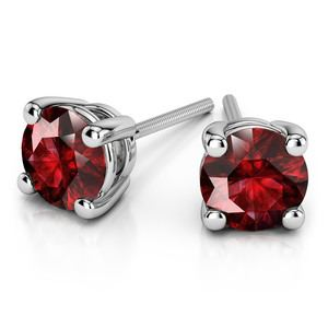 Ruby Round Gemstone Stud Earrings in White Gold (3.4 mm)