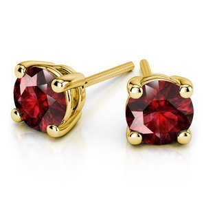 Ruby Round Gemstone Stud Earrings in Yellow Gold (3.4 mm)