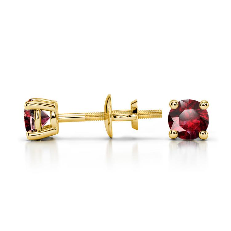 Ruby Round Gemstone Stud Earrings in Yellow Gold (3.4 mm) | 03