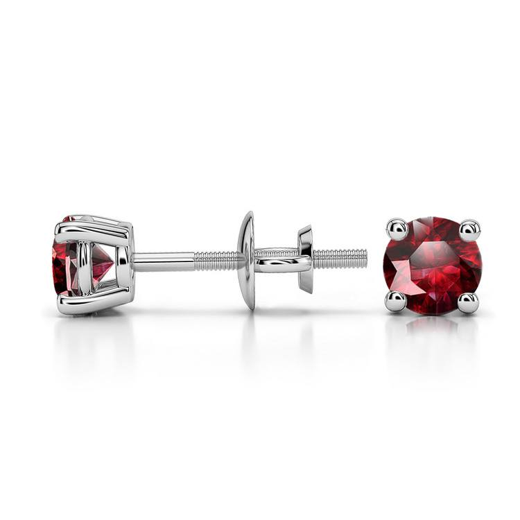 Ruby Round Gemstone Stud Earrings in White Gold (4.1 mm) | 03