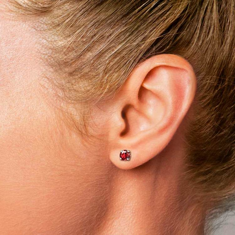 Ruby Round Gemstone Stud Earrings in White Gold (4.1 mm)   04